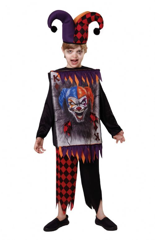 Childrens Jester Costume Tabard + Hat Circus Clown Joachim Fancy Dress Outfit